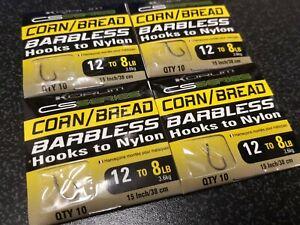 Korum CS Series Barbless Hooks to Nylon - corn / Bread Size 12
