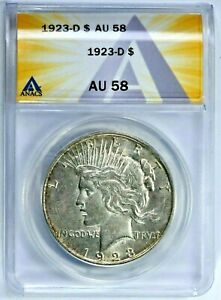 1923-D $1 Peace Silver Dollar ANACS AU5 58 (8836) 99c NO RESERVE  Witter Coin