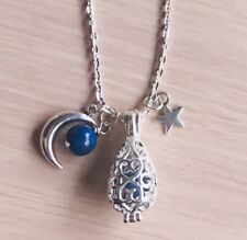Starry Night Moon Lapis Lazuli Mother Daughter Sister Silver Locket Necklace