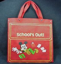 Vintage Disney Mickey Mouse Schools Out Canvas Tote Bag ©Walt Disney Productions
