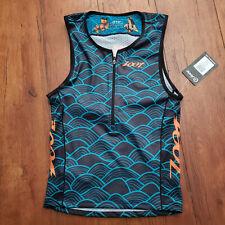 ZOOT Mens Large LTD Tri Tank Aloha Triathlon Top Compression Shirt Blue Orange