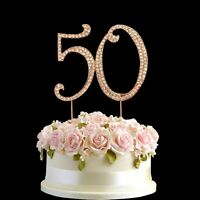 Rose Gold Diamante Rhinestone Cake Pick Topper Birthdays Anniversary Number- 50