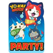 YO-KAI WATCH INVITATIONS (8) ~ Birthday Party Supplies Stationery Cards Notes