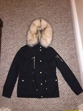 Ladies/Girls Size 8 Topshop Parka Coat Jacket Fur Hood