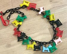 Vintage multi colors early plastic  scotty dogs necklace