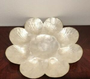 Vintage Capiz Shell Vanity Tray with Scalloped Edge & Gold Trim