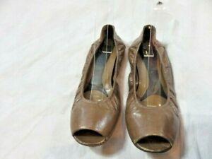MARNI Dark Brown Leather Peep Toe Ballet Flats Size 38.5