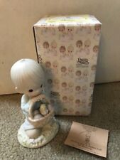 1987 Precious Moments Wishing You A Basket Full Of Blessings #109924 W/Box & Coa