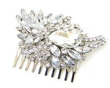 Art Déco Argent Strass Peigne À Cheveux Mariage Bal Vintage 1920s Great Gatsby