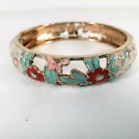 Jiu Long Xing Bracelet Pink Green Bangle Hinged Gold Color Floral Cloisonné