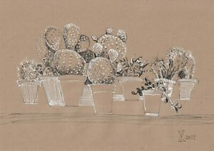 original drawing A4 276YL art samovar Mixed Media flowers cacti in pots