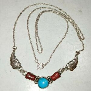 """SIGNED-""""RB"""" Native American Sterling Silver 925 TURQUOISE Feather Necklace 21""""🐾"""