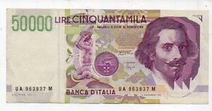 Lire 50000 Cinquantamila Bernini 1992 serie UA 963937 M gov. Ciampi