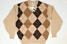NWD J Press Argyle V-Neck Sweater M Beige Brown Pink Scotland Wool Pullover L/S