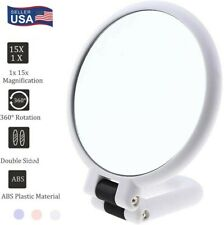 Double Sided 15x&1x Magnifying Mirror Handheld Travel Vanity W/Stand Adjustable