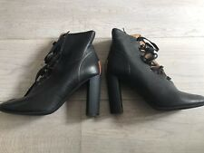 Chloe Goat Skin Black Ladies Laced Boots Size 41.5