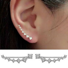 7 Crystals Ear Cuffs Hoop Climber Crawler Sterling long Silver Stud Earrings