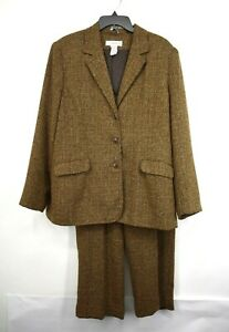 Sag Harbor Womens Brown Notch Lapel Flap Pocket Casual Pant Suit Blazer 14/18