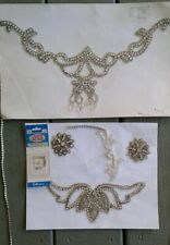 Two large silver vintage sew on embroidery jewelry hand crafting supplies