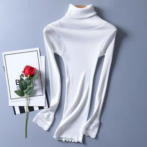 Women's Turtleneck Silk T-Shirts Knitted Long Sleeve Lace Blouse Pullovers Tops