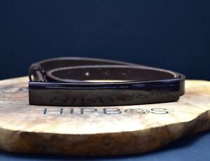 Gucci Authentic Womens Leather Waist Belt with Enameled Buckle Brown Size 26