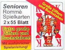 4x55  SPIELKARTEN ROMMÉ KARTEN BLATT  GROßE ZIFFERN FÜR SENIOREN ROMME KARTEN