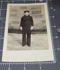 US SAILOR Navy Uniform Man Hat Stong Facial Features Rugged RPPC Vintage PHOTO