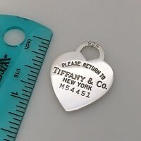 Please Return to Tiffany & Co Sterling Silver Heart Tag Pendant Charm
