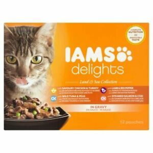 Iams Delights Wet Cat Food Land and Sea Collection Meat Fish in Gravy 12 x 85g