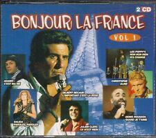 COFFRET 2 CD COMPIL 38 TITRES--BONJOUR LA FRANCE VOL 1--BECAUD/ADAMO/POPPY'S...