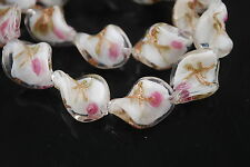Pretty 10ps White Flower Glass Twist Helix Lampwork Beads Spacer 20mm Charms