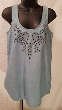 LUCKY BRAND BLUE DENIM BLOUSE TANK TOP FLORAL EMBROIDERED SIZE M Medium $79