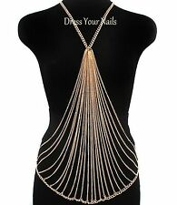 Costume Jewellery Draping Necklace - uk Multi Body Chain Gold or Silver Coloured