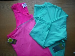 Womens NWT TekGear Danskin PLUS SZ Microfiber Racerback & LS Tops Pink Green 2X