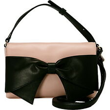 Kate Spade BOW BEAU Leather HANOVER STREET ASTER CROSSBODY BAG PALE PINK BLACK