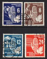 East Germany Set of 4 Peace Stamps c1950 Used (8011)