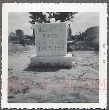 Unusual Vintage Photo Robert Brown Cemetery Headstone 728053