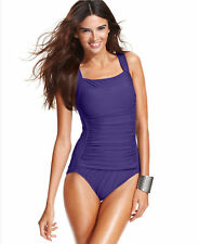NWT SWIM SOLUTIONS EGGPLANT WIDE STRAP RUCHING 1 PIECE SWIMSUIT 18 RETAILS $80.