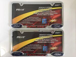 Ford Racing License Plate Frames Rare Set Double Logo Pilot Automotive Chrome 2
