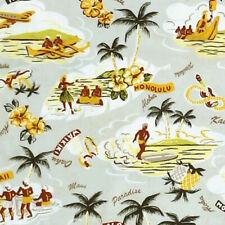 Robert Kaufman, Sevenberry ISLAND PARADISE Hawaiian Hula Hibiscus Fabric - Grey