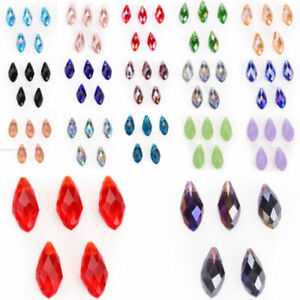 Wholesale 20Pcs Glass Loose Teardrop Charms Spacer Beads Crystal 8mm Lots DIY