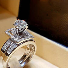 2.50 Ct 14K White Gold Over Round Cut Diamond Cluster Bridal Set Engagement Ring