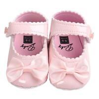 bébé nouveau-né nœud filles anti-dérapant cuir chaussures crèche Semelle Souple