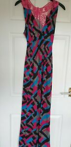 Excellent Condition Pink/ Blue / Black Maxi Dress Size L/XL