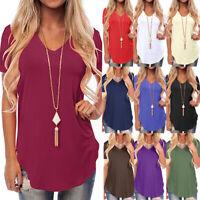 UK Womens T Shirt Loose Ladies Workout Sweatshirt Blouse Summer Tee V neck Tops