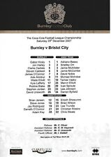 Teamsheet - Burnley v Bristol City 2007/8