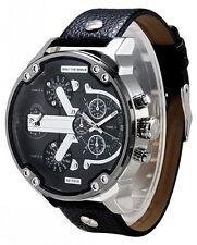 Men's Big Size Watches Quartz Military Army Sport date Wrist Watch Black Leather