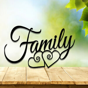 Family Heart Sign Wall Art Decor Black Metal Gift