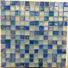 ASLG-1  ACOUSTIC BLUE 1x1 Glass Mosaic Tile for Kitchen Backsplash Spa