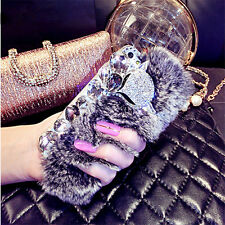 New Bling Diamond fluffy Winter Hair Hard Back Phone Case Silicone Bumper Cover